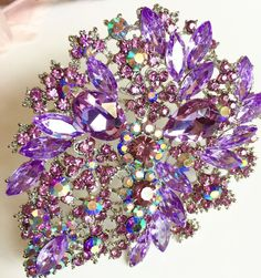 Rhinestone Brooch HUGE Purple Crystals 4 x 3 inches NEW #unbranded