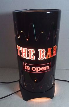 Vintage The Bar is Open Lamp Revolving Light Cylinder In Motion 1970's