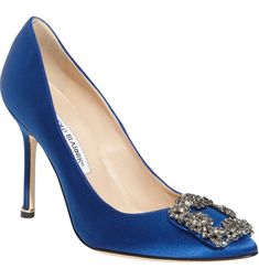 online shopping for Manolo Blahnik 'Hangisi' Jewel Pump (Women) from top store. See new offer for Manolo Blahnik 'Hangisi' Jewel Pump (Women) Sapatos Manolo Blahnik, Manolo Blahnik Hangisi, Peep Toe, Pointed Toe Pumps, Blue Wedding Shoes, Bridal Shoes, Wedding Heals, Wedding Colours, Satin Pumps