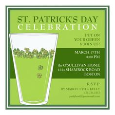 Invite guests in style with this St. Patrick's Day celebration party pint invitation. Green beer and good cheer! Invite you guests with this fun pint of green beer on a bright green card.