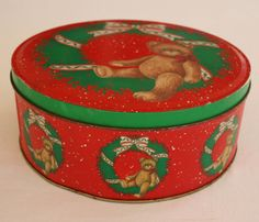 Christmas Red Teddy Bear Tin by BatinkaBelle on Etsy