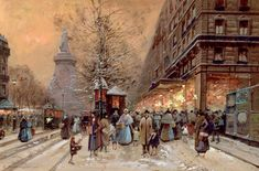 A Busy Boulevard Near The Place De La Republique Paris (Print) by Eugene Galien-Laloue