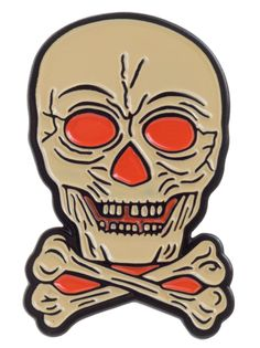 CREEPY CO BEISTLE LANTERN SKULL ENAMEL PIN - This Beistle® Lantern Skull is a pin reproduction of a paper decoration that was once used as a lantern insert; the eyes were illuminated by a flickering flame through translucent amber! Pin this dark-diminisher to your person in October, and all year long!
