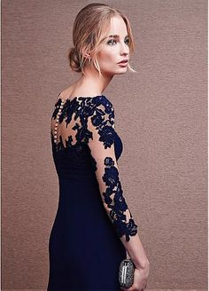 Marvelous Tulle & Chiffon V-neck Neckline 3/4 Length Sleeves Slit A-line Evening Dresses with Lace Appliques