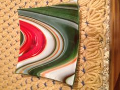 Fused glass dish with Christmas swirl colors by fusedglassbyjemima, $25.00