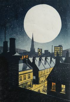 Andrew Davisdon's wonderful woodcuts Night Illustration, Linoprint, Linocut Prints, Naive Art, Woodblock Print, Illustrations And Posters, Silkscreen, Landscape Art, Graphic