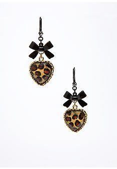 Betsey Johnson Leopard Heart Earring