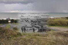 D-day, Normandy, 1944. | 26 Ghostly Images Of World War Two, Blended With The Present