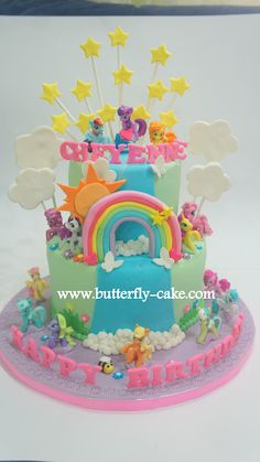 Butterfly Cake: My Little Pony cake. I really like the stars and clousds coming off this one- It would be awesome to combine this idea with one of the castle cakes, and have stars around the castle