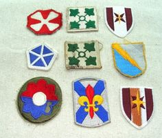Lot of 9 Vintage MILITARY PATCHES Fleur De Lis by GypsySeller, $9.50