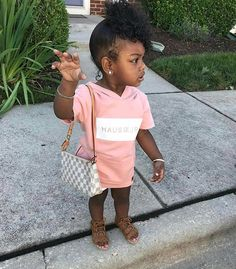 """She like, """"Hold up. Get right witcha"""" lol Cute Black Babies, Black Baby Girls, Beautiful Black Babies, Cute Baby Girl, Cute Little Girls, Beautiful Children, Cute Babies, Cute Kids Fashion, Little Girl Fashion"""