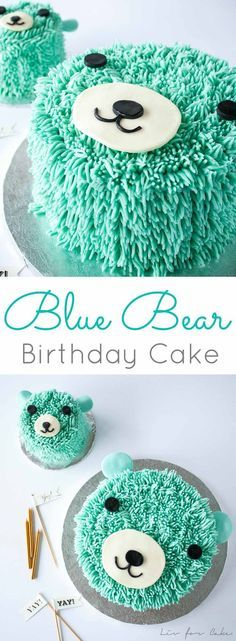 This super cute bear cake is perfect for a little one's birthday! The cake and frosting recipes are simple and the technique is actually really easy to do!   livforcake.com