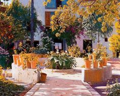 Paintings of Spring: Santiago Rusiñol februarie 1861 – 13 iunie pictor și scriitor catalan Spanish Painters, Spanish Artists, Picasso Cubism, Tres Belle Photo, Different Art Styles, European Paintings, Modern Artists, Western Art, Garden Art