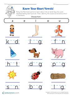 Preschool Worksheets & Free Printables (Page 2)   Education.com Education Quotes For Teachers, Quotes For Students, Quotes For Kids, Vowel Worksheets, Writing Worksheets, Kindergarten Worksheets, Kindergarten Reading, Phonics Reading, Short Vowels