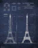 Eiffel Tower Blueprint Póster