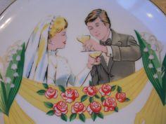 Wedding Plate/Vintage Wedding Plate/Vintage by OldSteamerTrunkJunk
