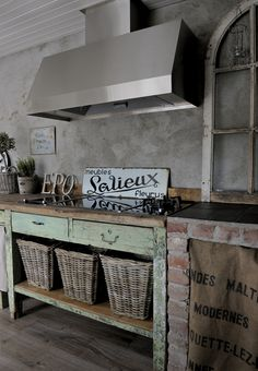 wow...what a great kitchen...love the repurposing and salvage/cooktop