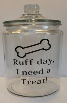 Dog Treat Half Gallon Glass Canister | Dog Lover | Dog Bones | Dog Mom | Fur Babies | Friend Gift | Birthday Gift