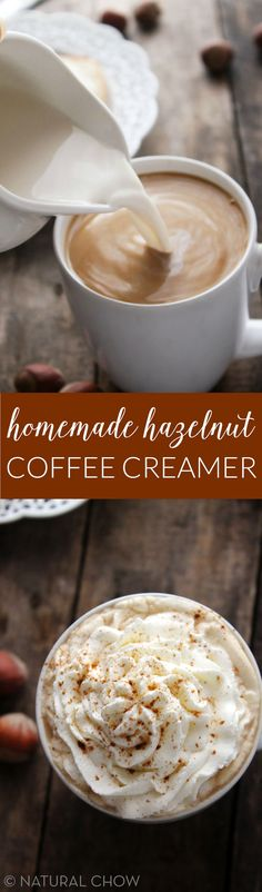 This homemade hazelnut coffee creamer only takes 5 minutes to make and is such a kitchen staple! Made with 3 simple ingredients, it's so much healthier than storebought creamer.
