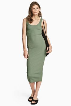 Ribbed jersey dress - Green - Ladies | H&M GB 1