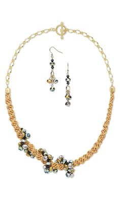 Jewelry Design - Single-Strand Necklace and Earring Set with Celestial Crystal® and Silver-Finished Brass Beads and Kumihimo Imitation Silk Cord - Fire Mountain Gems and Beads