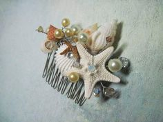 Pearly Crystal Seashell and Starfish Hair Comb by iDoArtsyWeddings, $58.00