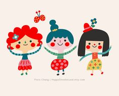 Happy Girls Print via Etsy | Flora Chang, Happy Doodle Land