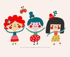 Happy Girls Print via Etsy | Flora Chang, Happy Doodle Land