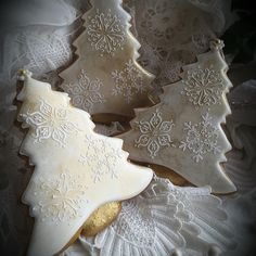 Golden Christmas trees with stenciled snowflakes by Teri Pringle Wood