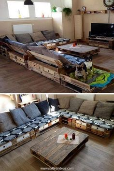 This is a whole wood pallet land. See all the wooden pallet flooring on the ground, luxury wood pallet couches along with a matching side and coffee pallet wooden table. Plus the TV has also got a stylish wood pallet stand, all of these creations are the blessing of shipping pallets.