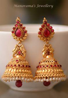 Surabhi Earrings - Beautiful Jhumka Earrings Studded with Kemp Stones, Lab Synth…