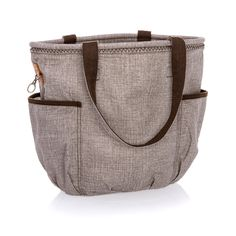 """Mocha Crosshatch Why you'll love it: One of our most versatile totes, the Retro Metro Bag is loaded with functionality and personality. With two exterior side pockets, two interior flat pockets and a larger zip pocket, it's the perfect casual tote for work, school, travel or the beach. Personalize your tote with a monogram or one of our fun Icon-It designs. Available in canvas or cotton (Twill Stripe only). Washable. Approx. 14""""H x 19""""L x 7.125""""D"""