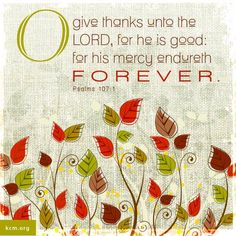 Psalm 107:1 - O give thanks unto the Lord, for he is good: for his mercy endureth for ever...More at http://beliefpics.christianpost.com/