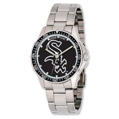 """#MLB Team Logo Men's """"Coach"""" Stainless Steel Watch. Shown with #Chicago #WhiteSox team logo.  Also available for all other pro #baseball teams."""