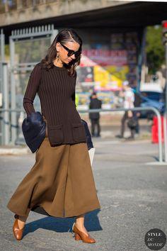 NatashaGoldenberg at #paris #fashionweek  #Celine, Superb Navy cuffs.Brown Shoes, jumper altogeter great.