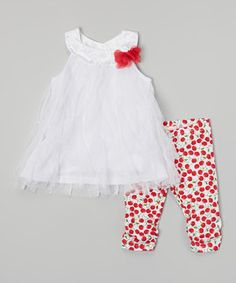 White Lace Dress & Red Cherry Leggings - Infant by Nannette Baby #zulily #zulilyfinds