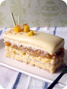 L'Exotique Entremet: a. Coconut Lime Dacquoise b. Passionfruit and Mango Bavarian Cream c. Tropical fruits gelee, which includes pineapple, mango, and banana. Lemongrass Bavarian Cream e. Gourmet Recipes, Baking Recipes, Sweet Recipes, Cake Recipes, Baking Ideas, Yummy Recipes, Dacquoise, Profiteroles, Cannoli