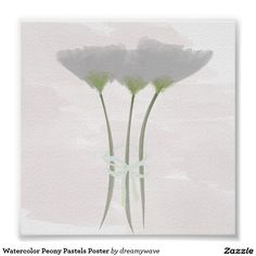 """Watercolor Peony Pastels Poster 6""""x6"""" $8.59 #watercolor #poster"""