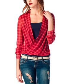 Love this Bordeaux Plaid Surplice Top by Ironi Collection on #zulily! #zulilyfinds