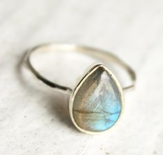OBSESSED WITH LABRADORITE!!! Silver Labradorite Teardrop Ring - Midnight Blue - Stacking Ring $50.00 www.etsy.com--ohKuol
