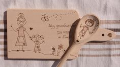 Personalized wooden cut board hand engraved burning wood gift for Mother's day Diy Cutting Board, Personalized Cutting Board, Wood Gifts, Casket, Hand Engraving, Pyrography, Wood Burning, Mother Day Gifts, Burns