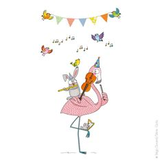 Flamingo sticker flamant rose Avec le sticker enfant Concerto c'est vous le chef d'orchestre pour ces musiciens heureux ! Le flamant rose au violon, la souris à la harpe, le lapin à la flûte traversière et les oiseaux au chant