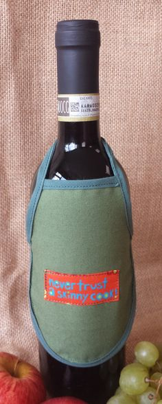 Wine Bottle Apron, Never trust s skinny cook, Novelty Gift, Unique Gift Idea, Wine Bottle Cozy by PirkkosCreations on Etsy