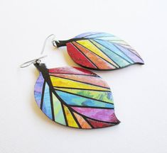 Paper Earrings, Paper Jewelry, Paper Beads, Polymer Clay Earrings, Leaf Earrings, Diy Earrings, Clay Jewelry, Jewelry Art, Jewellery