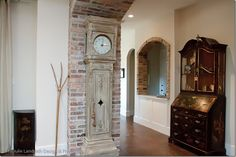 Paris on the Texas Coast ~ French Design In & Around Houston ~ See it, buy it, live it Brick Accent Walls, Grey Walls, Brick Walls, Brick Archway, Clock Painting, Classic Clocks, Dutch Door, Concrete Floors, Stained Concrete