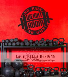 "www.lacybella.com  ""Weight Room No Pain No Gain"" vinyl decal lettering quote gym motivational decor"