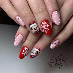 Festive Christmas Nail Art Ideas – Page 24 – Cocopipi Disney Christmas Nails, Christmas Gel Nails, Christmas Nail Art Designs, Holiday Nails, Winter Nail Art, Winter Nails, Mickey Mouse Nail Design, Nail Art Noel, Mickey Mouse Nails