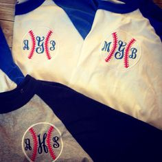 Monogrammed Baseball Raglan 3/4 sleeve tee by ahSEWcute on Etsy ball field spirit mom shirt. Tball go team