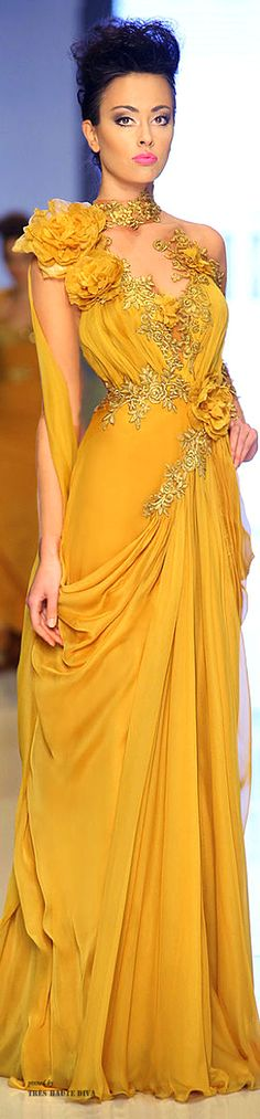 Fouad Sarkis Couture | luxury fashion and glamour | the color story of golden…