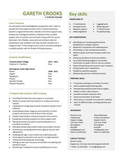 Entry level IT support resume template
